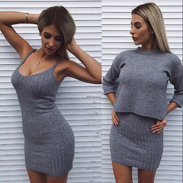Two-Pieces Suits Loose Sweater Knit Mini Dress