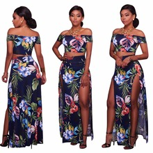 4d9d4a28a6 Women Sexy Night Club 2 Pieces Print Long Ladies Bodycon Party Bodysuits  Summer Dress