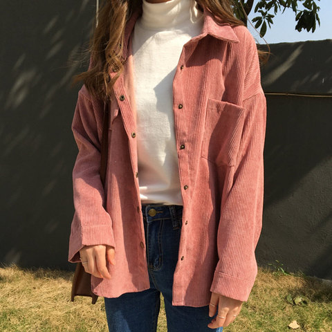 2019 Korean Long Sleeve Solid Jackets Outwear Spring Autumn Women Loose Jackets Casual Pocket Corduroy Jackets kz602 Pakistan