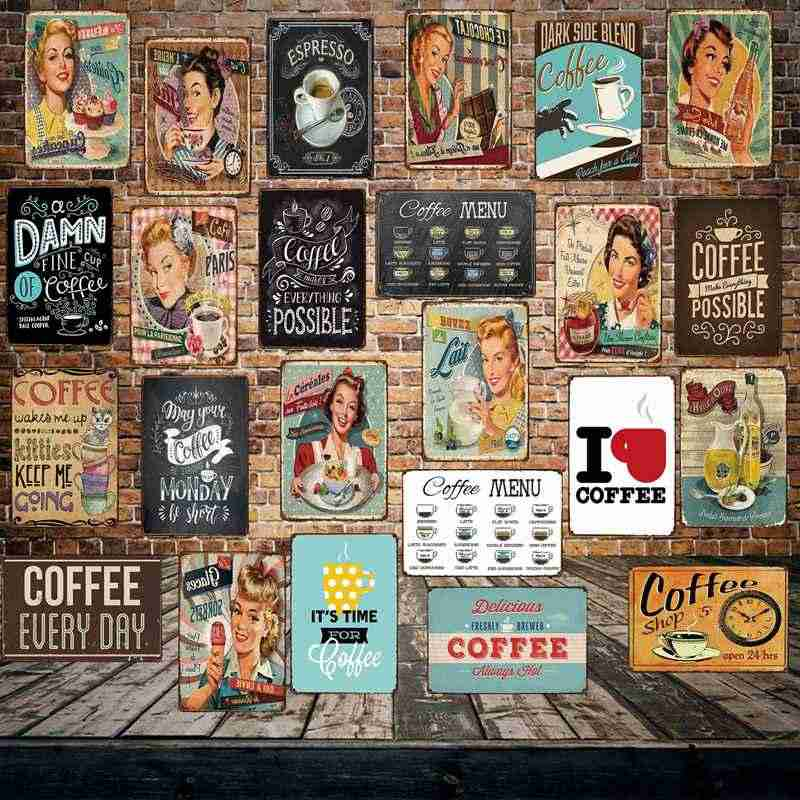 [ Mike86 ] Coffee Menu Cake Food Metal Sign Home Store Farm Decor Vinage shabby chic  Wall Poster Art 20*30 CM FG-260