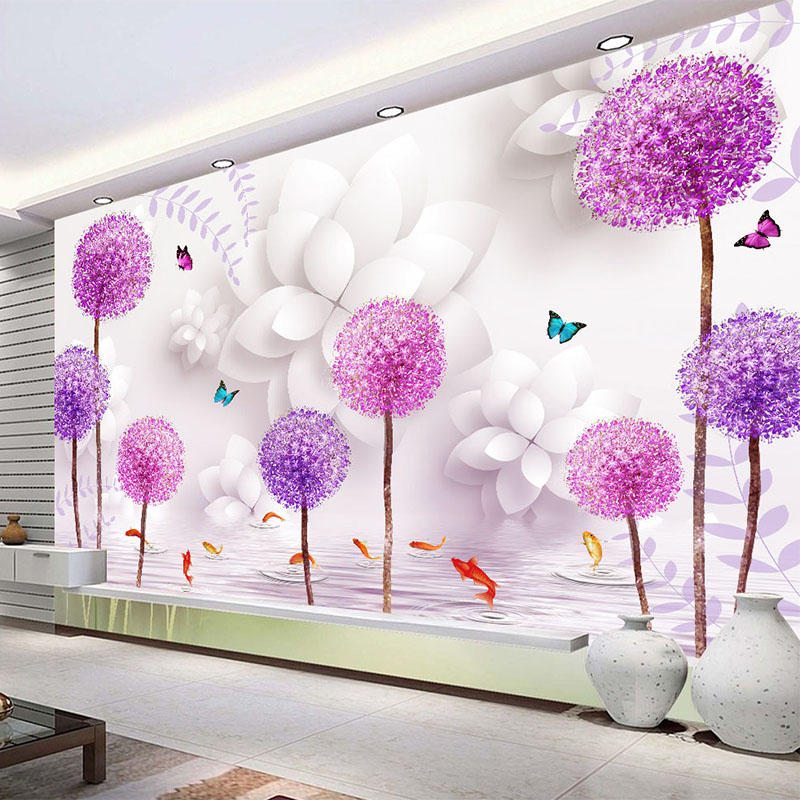Buy 3d stereo dandelion wall mural for Mural 3d simple
