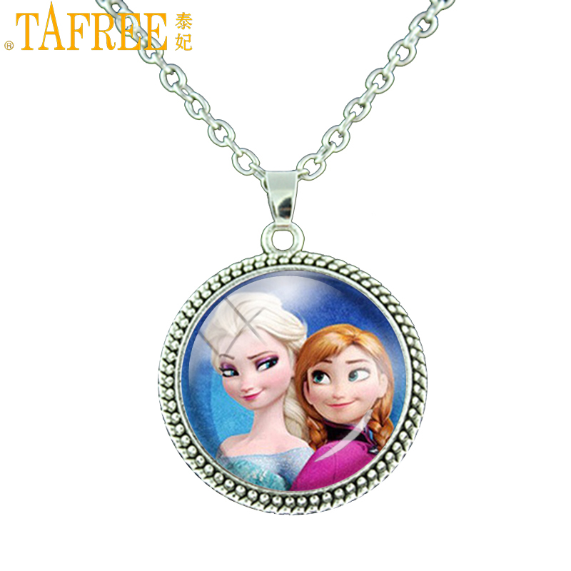 TAFREE 2017 Anna Elsa Girls Glass Film Choker Jewelry Necklace Summer Vintage Style Pendant Jewellery For Kids Party Gift ES30
