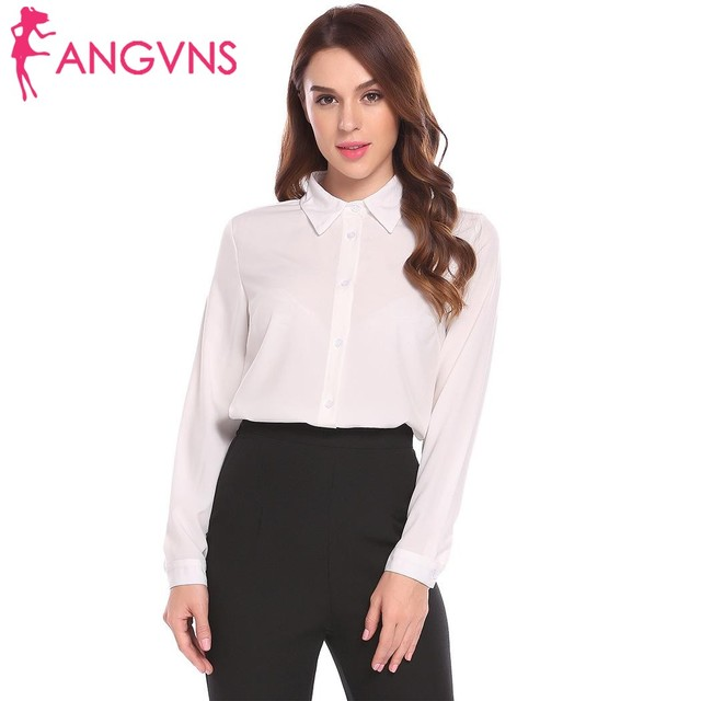 6e629141b05 ANGVNS Women Shirts Chiffon Blouse Work Wear Casual Turn-down Collar Long  Sleeve Solid Button Shirts Ladies Formal Office Blusa