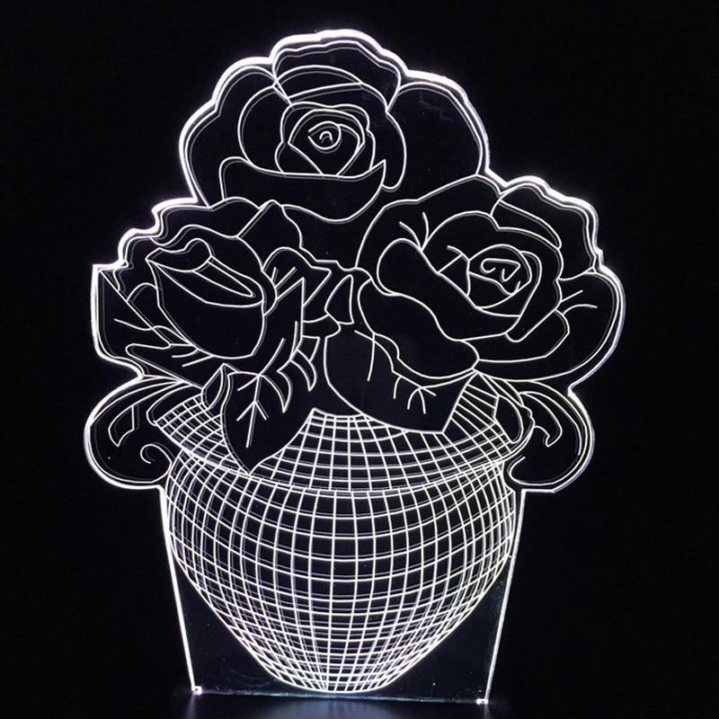 Rose Blume Blumen Nacht Licht Schlauch Decor LED Schreibtisch Lave Lampe 7 Farbwechsel Schlafzimmer Party Hochzeit