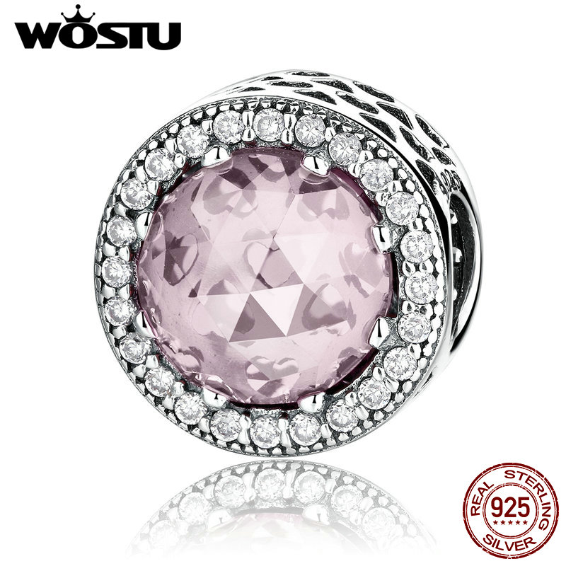 NEW ARRIVAL 925 Sterling Silver Radiant Hearts Pink Charm Beads Fit Original wst Bracelet Authentic Fine Jewelry