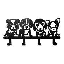 Cuatro cachorros de papel de corte llave de hierro colgando 40 cm Equipamiento Del Hogar Decoración perchero para colgar