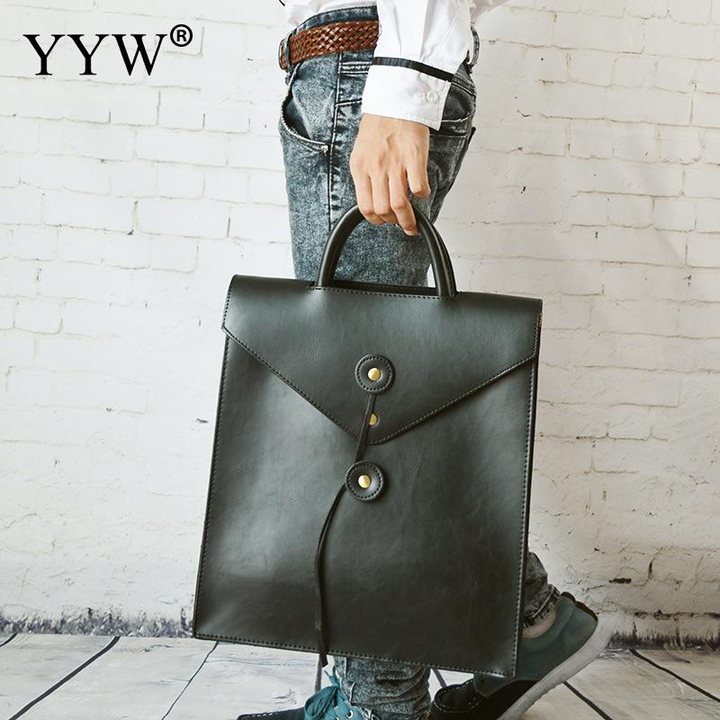 Men's Executive Briefcase Business Male Bag Brown Portfolio Bags For Men Black PU Leather Handbag A Case For Documents