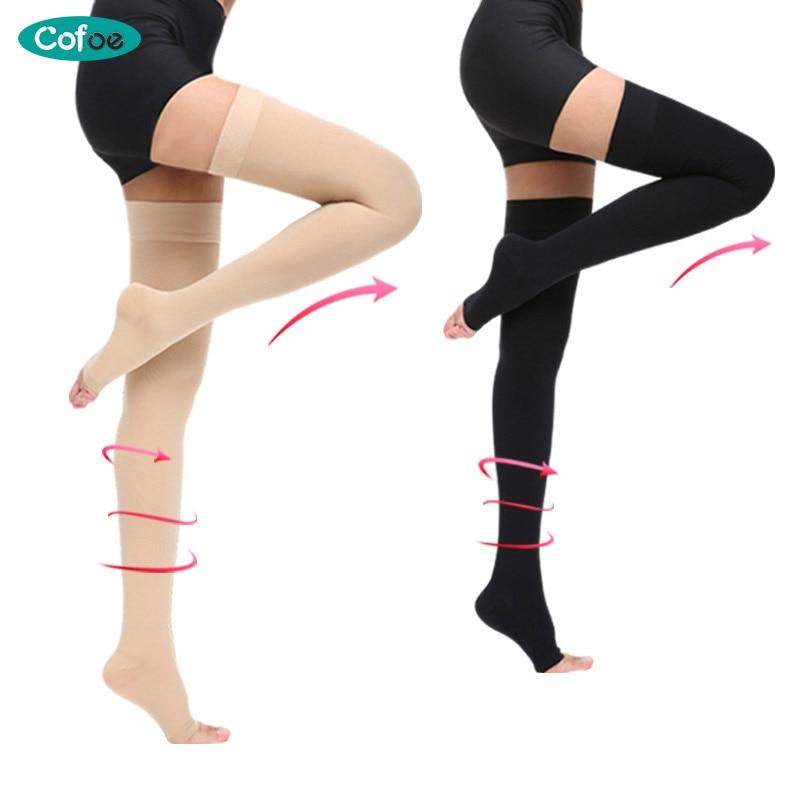 Cofoe A Pair Compression Stockings Varicose Veins 34-46mmHg Pressure Medical Comfortable Socks Unisex Anti Swelling Socks цена