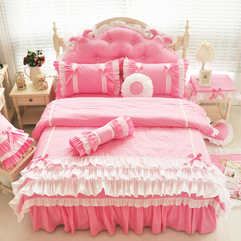 pink yellow 100 cotton princess bedding set twin queen king size adults children bed skirt bed. Black Bedroom Furniture Sets. Home Design Ideas
