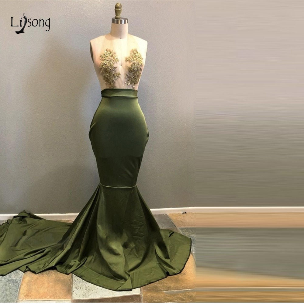 Sexy Olive Green Lace Mermaid Prom Dresses Deep V neck Off ...