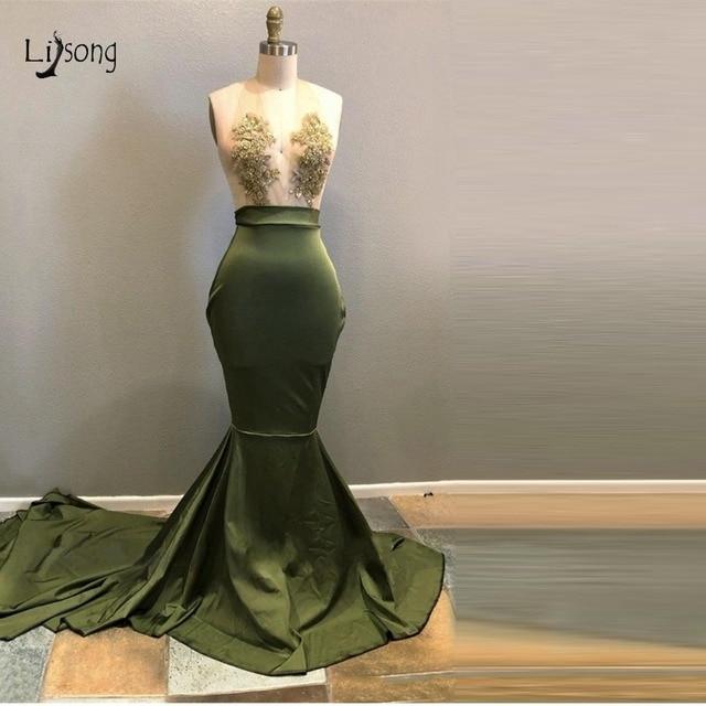סקסי זית ירוק תחרה בת ים שמלות נשף עמוק V-צוואר כבוי כתף ארוך נשף שמלות Robe דה Soiree לונג פורמליות מפלגה שמלה