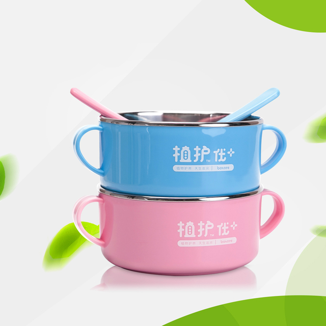 Venda quente do bebê crianças alimentação tigela comer aperto aprendizagem stainless steel tigela colher suplemento alimentar tigela frete grátis