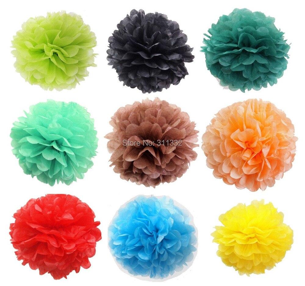 """10пцс / лот, 35цм (14 """"), пом помс Цветни папир са цвијећем, рођендан и вјенчани украсни цвијеће, 20 боја за одабир"""