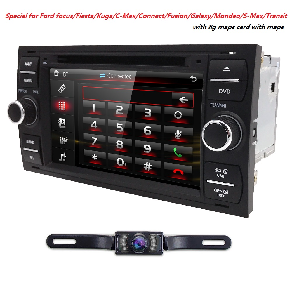 Wholesale! 2Din 7Inch Car DVD Player For Ford/Focus/Mondeo/Transit/C-MAX/Fiest With GPS Navigation Radio BT 1080P Ipod FM/AM Map led 2009 2012 fiest fog light free ship fiest headlight transit explorer edge taurus tempo spectron falcon fiest day lamp