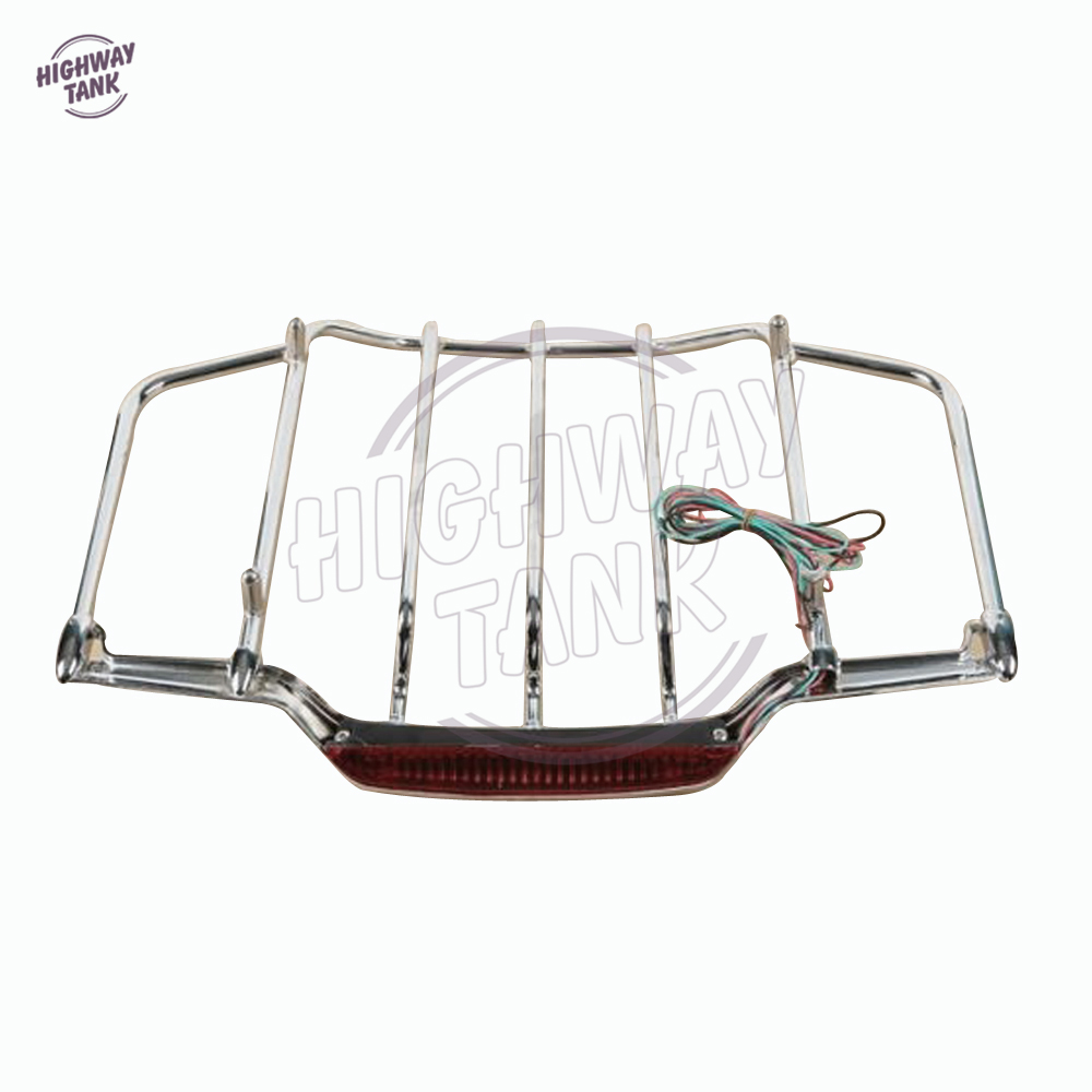 Chrome Motorcycle LED Light Air Wing Luggage Rack case for Harley Touring Electra Street Glide 1993-2013 partol black car roof rack cross bars roof luggage carrier cargo boxes bike rack 45kg 100lbs for honda pilot 2013 2014 2015