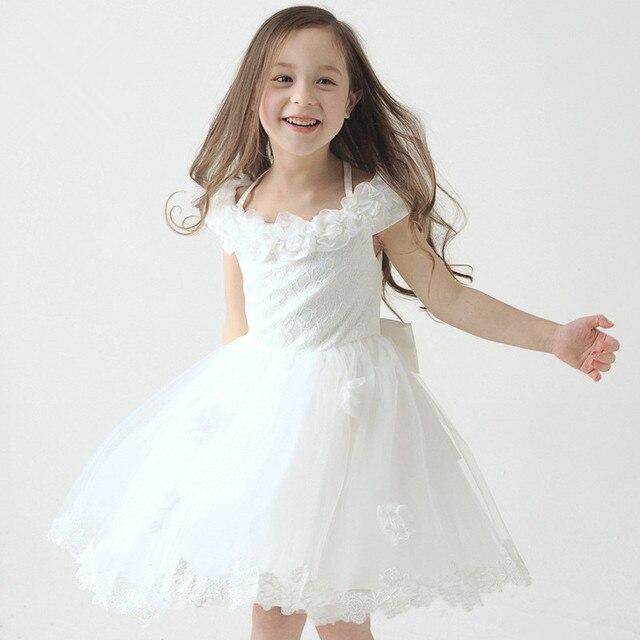 2015 première communion robes blanches halter petites robes filles pageant robe  de bal filles communion robe