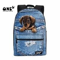 One2 2017 nowy projekt szkoła plecaki drukowania z uroczy denim kieszeni pies dla nastolatków mężczyzn i kobieta brezentowy plecak tornistrów