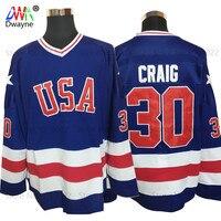 2017 Dwayne mens barato ee.uu. ICE Hockey Jersey vintage 1980 Miracle on ICE equipo 30 Jim Craig Jerséis cosido Retro hielo Azul del desgaste