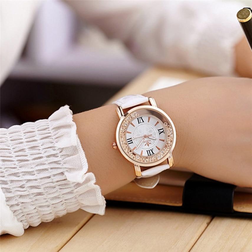 2017 Relogio Feminino Ladies Fashion Quartz Watch Women Rhinestone Leather Casual Dress Women Watch#MAY22 сумка bottega veneta queencity bv