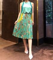 Women Skirt 2018 Spring and Summer New Romantic Print Pleated Twill Skirt