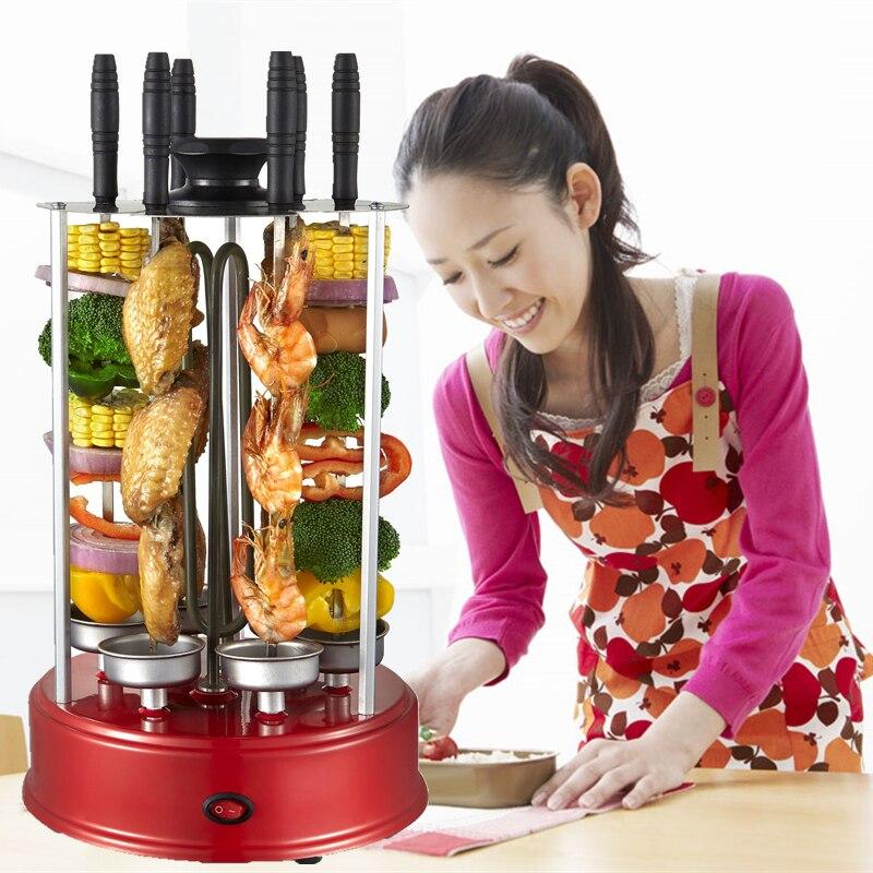 2018 nouveau 8 X fourchettes verticale automatique rotative verticale électrique barbecue gril brochette sans fumée barbecue kebab shawarma machine