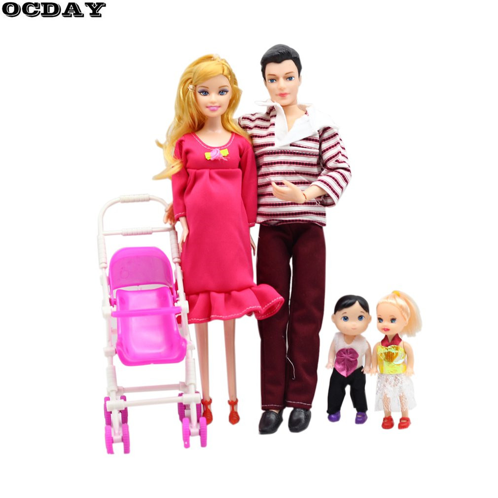 OCDAY Toys Family 5 People Dolls Suits 1 Mom /1 Dad /2 Little Kelly Girl /1 Baby Son/1 Baby Carriage Real Pregnant Doll Gifts
