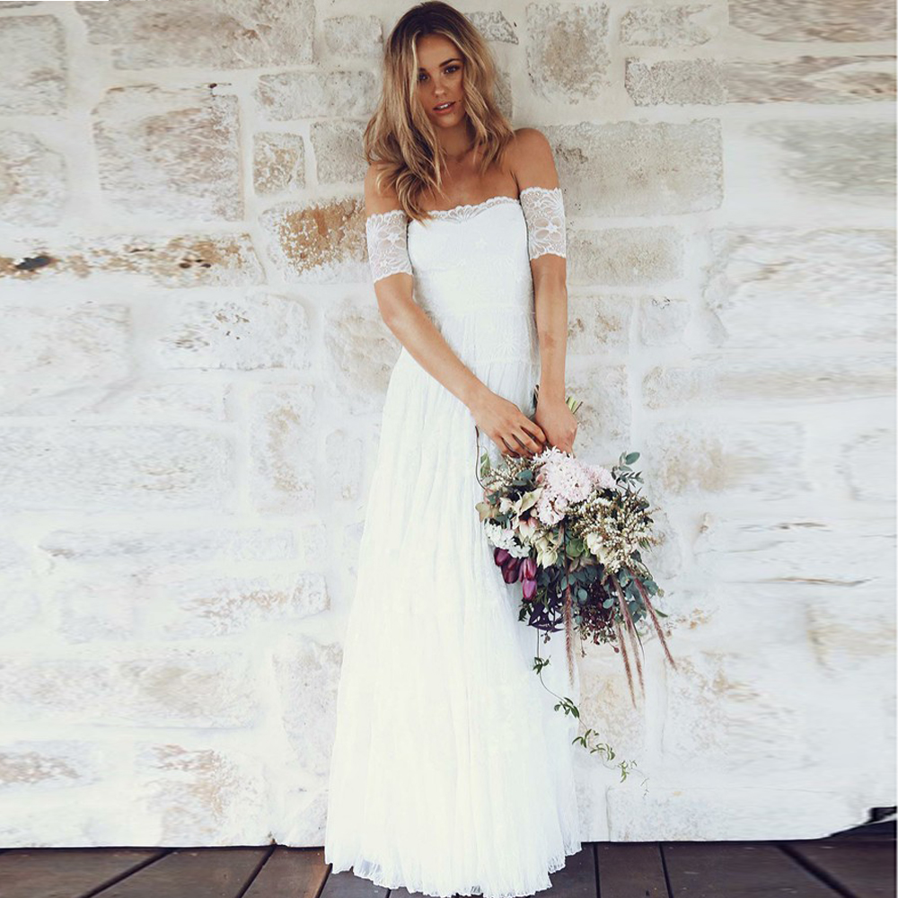 A-Line Off-the-Shoulder Short Sleeves Lace Boho Wedding Dresses Strapless Floor Length Bridal Gowns Cheap Vestido De Noiva