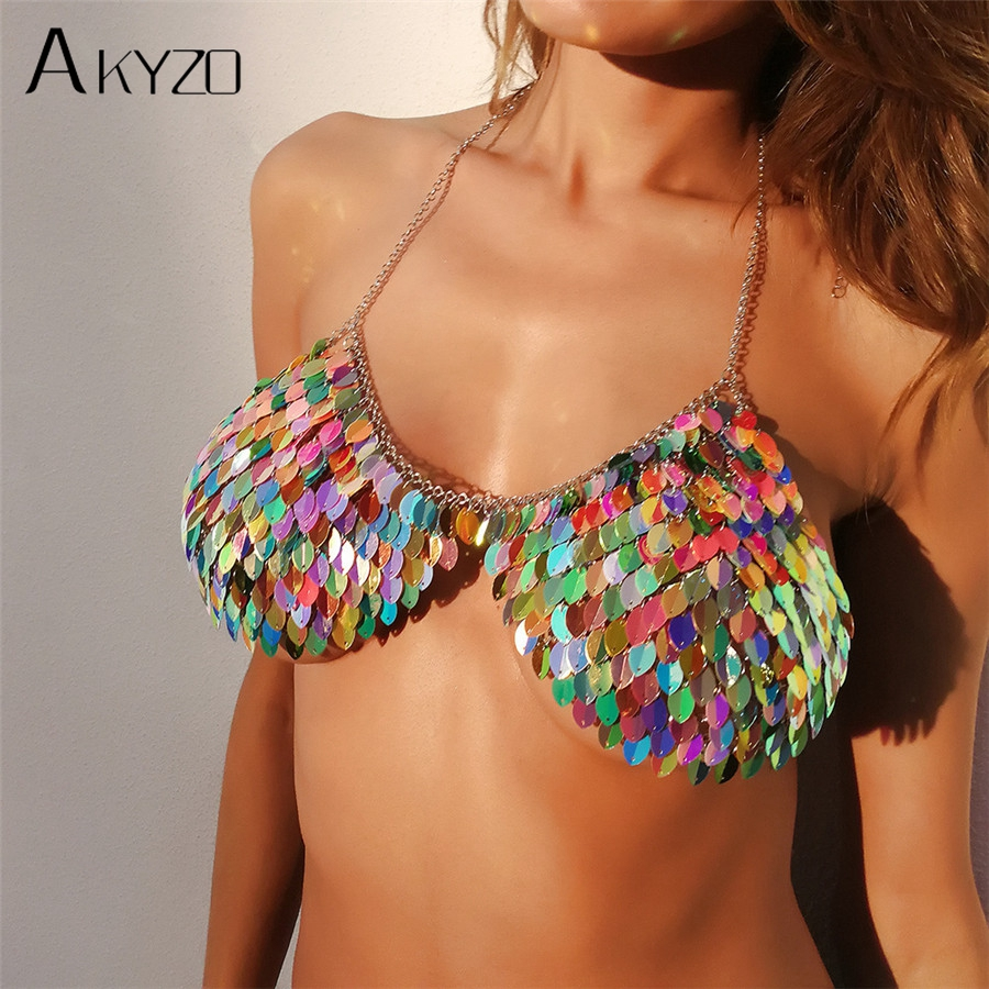 AKYZO 2018 New Women Sexy Halter Handmade Camis Fashion Crazy Colorful Metal Fish Scale Party Club Cropped Tops Wholesale Price crazy club