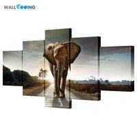 5 stücke leinwand malerei bilder Hohe qualität HD günstigen preis große Kunst Afrikanische Elefanten Bilder Modulare Moderne Home Decor unframed