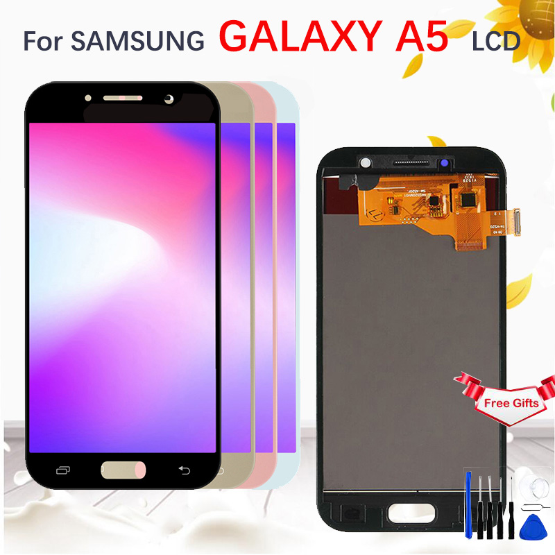 <font><b>AMOLED</b></font>/TFT LCD For <font><b>SAMSUNG</b></font> GALAXY A5 2017 A520 <font><b>A520F</b></font> SM-<font><b>A520F</b></font> LCD Display Touch Screen Digitizer Assembly Replacemen image