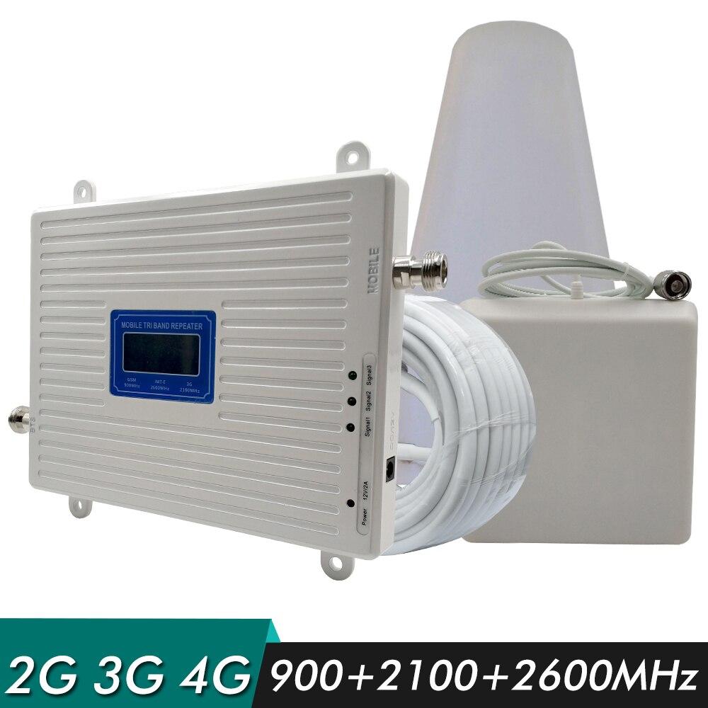 2G 3G 4G répéteur Tri bande Booster GSM 900 + WCDMA/UMTS 2100 + FDD LTE 2600 MHz amplificateur de Signal de téléphone portable amplificateur de Signal ensemble