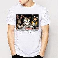 American Country Style Mens Top Tee Novelty Design Cartoon Printing Tees T Shirts Christopher Robin Harajuku