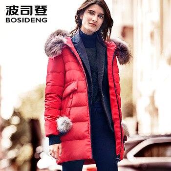 BOSIDENG 2017 New Winter Collection Women Coat Jacket Warm High Quality Woman Parka Jacket Winter Coat Hood Real Fur B1601234