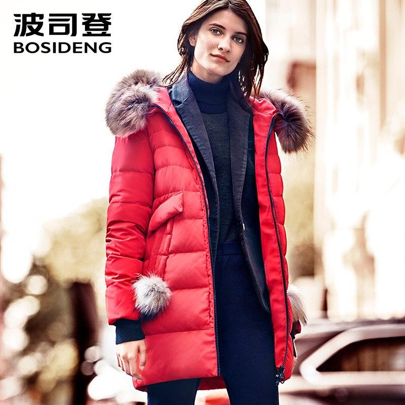BOSIDENG 2017 ใหม่ฤดูหนาวผู้หญิงเสื้อแจ็คเก็ต Warm คุณภาพสูงผู้หญิง Parka Jacket เสื้อฤดูหนาว Hood ขนสัตว์จริง B1601234-ใน เสื้อโค้ทดาวน์ จาก เสื้อผ้าสตรี บน   1