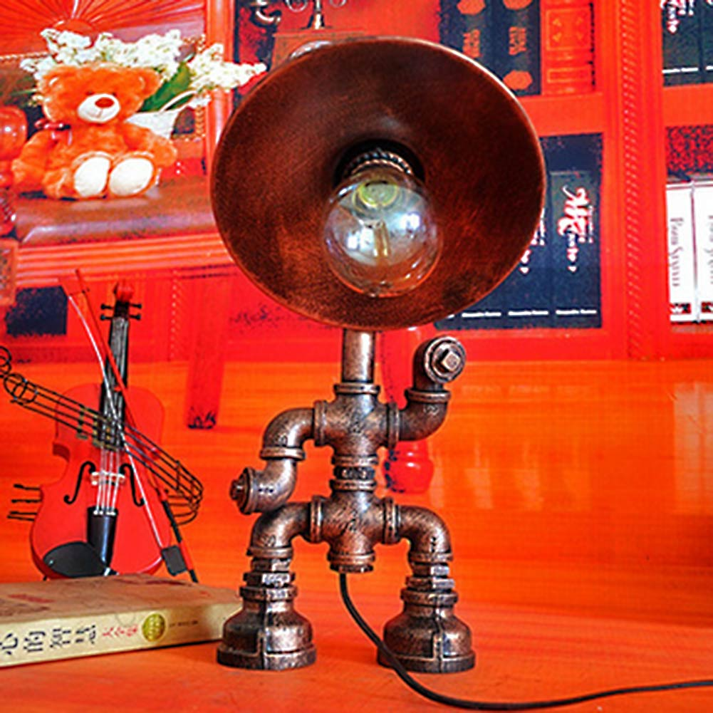 Led Light Desk Lamp Creative Personality Retro Industrial Water Pipe Table Lamp American Bar Cafe Desk Lighting american style retro desk light wooden base led lamp cafe bar table lamps bedroom industrial water pipes art deco lighting