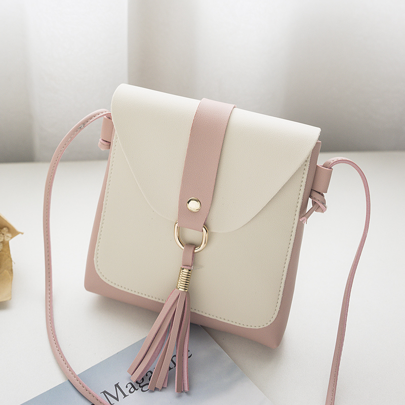 Us 4 99 Purse And Handbags For Women Small Tassel Shoulder Bag Massage Bags Lady S Mini Cute White Color Matching Cross Body In