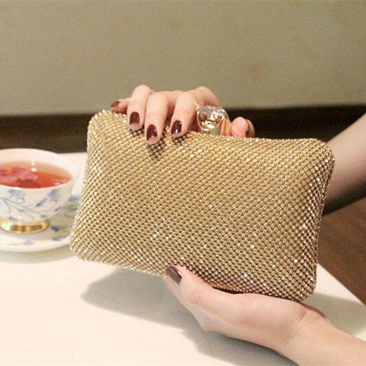 Top Quality Luxury Full Crystals Women Party Clutch Evening Bag Rhinestone Wedding Bridal Handbag Black Gold