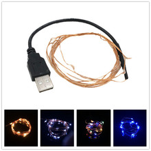 DC 5V 2M 20LED USB charger LED strip light Powered RGB Copper Wire tape Holiday String lighting outdoor Fairy Christmas Tree