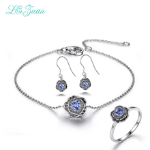 l&zuan Lotus Flowers 925 Sterling Silver 0.2ct Natural Drop Tanzanite Earring Bracelet Fine Jewelry Gold christmasRing for women
