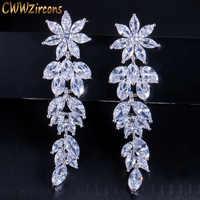CWWZircons - boucles d'oreilles pour mariées, longues boucles d'oreilles pendantes à forme de fleurs en zircone cubique et de style marquise Deluxe pour mariées, bijoux de mariage CZ432