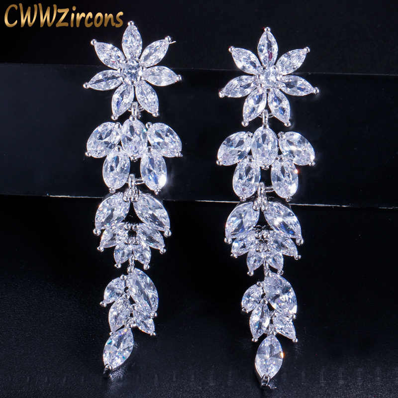 CWWZircons Luxury Marquise Cluster Flower Shape Cubic Zirconia Long Dangle Drop Earrings for Brides Wedding Jewelry CZ432