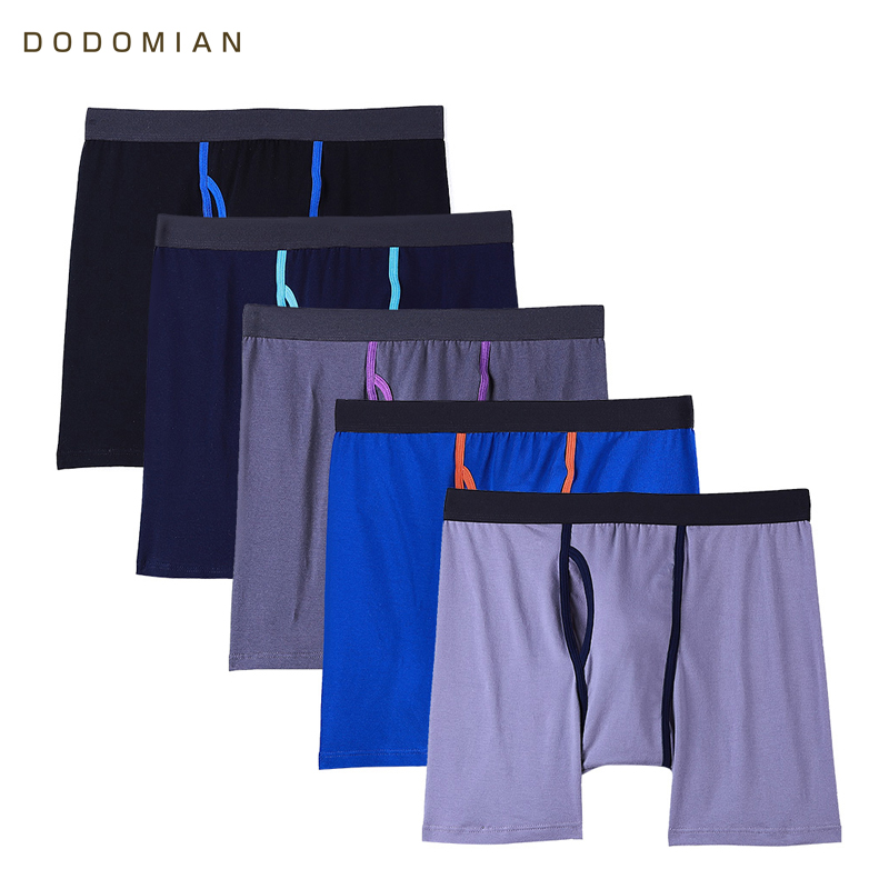 Men Boxer Cotton Solid Long Boxers Man 5 Pcs/Lot Soft Mens Underwear With Fly  Boxershorts Male U-convex US Size S M L XL XXL