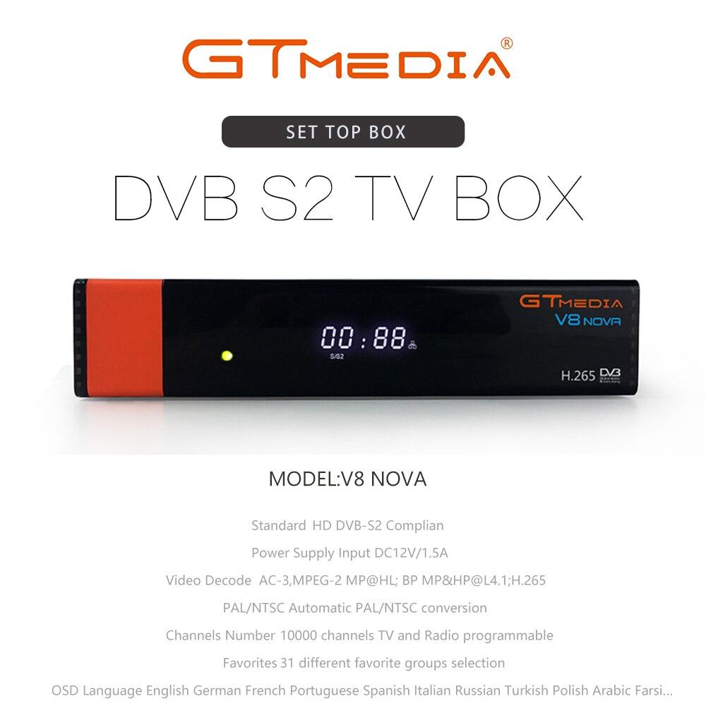 Gratuit 2 ans Europe 7 lignes serveur GT MEDIA DVB S2 V8 Nova HD 1080p H.265 récepteur Satellite Support YouTube CCCAM V8 récepteur - 2