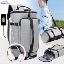 USB Şarj Laptop Sırt Çantası Ayakkabı Cebi 15.6 inç Anti Hırsızlık Kadın Erkek Okul Çantaları Kızlar Için Kolej seyahat sırt çantaları Sırt Çantası