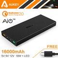 Aukey de Carga Rápida 2.0 16000 mAh Externo Portátil Da Bateria 5 V 9 V 12 V dual usb banco de energia móvel para samsung xiaomi htc huawei lg