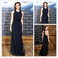 Custom made Navy Blue Open Back Sexy Straight Celebrity Dresses Emma Watson Evening Dress Special Occasion Gown