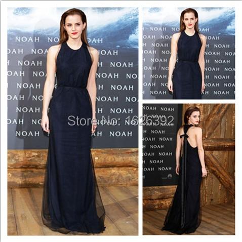 Por encargo azul marino espalda abierta Sexy Straight vestidos Celebrity Emma  Watson vestido de noche vestido