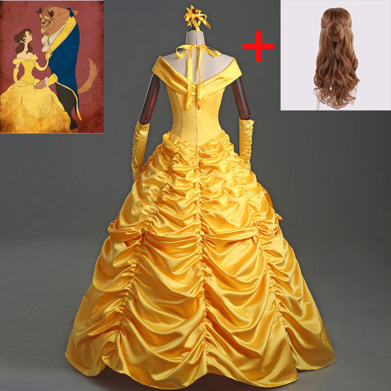 Halloween Costumes For Adult Women Deluxe Belle Princess Dress From Beauty And The Beast Princess Dress Movie Cosplay Costume