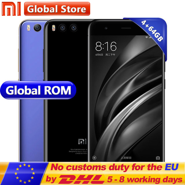 Оригинал Сяо Mi 6 Mi 6 4 ГБ 64 ГБ Snapdragon s835 Octa core Android мобильного телефона 5.15 дюймов 1920x1080 двойной 12.0mp 3350 мАч