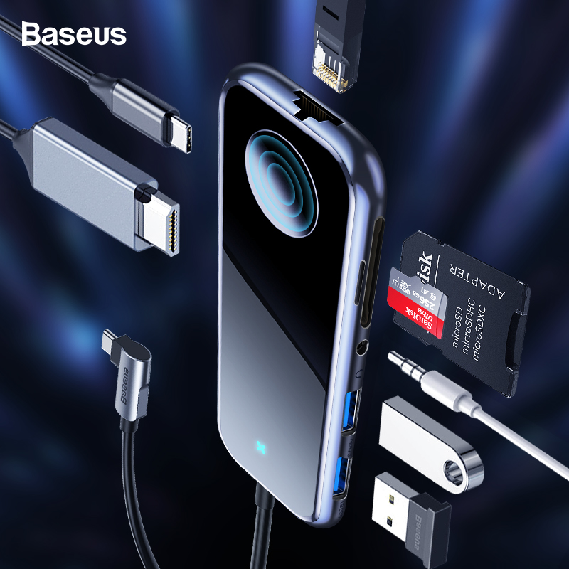 Baseus USB Tipo C RJ45 Multi USB 3.0 Power Adapter HUB para HDMI Para MacBook Pro Ar iWatch 3 Doca porta USB-C USB HUB HUB Divisor